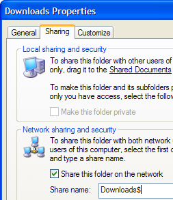 Hide your Windows share from casual network browsers