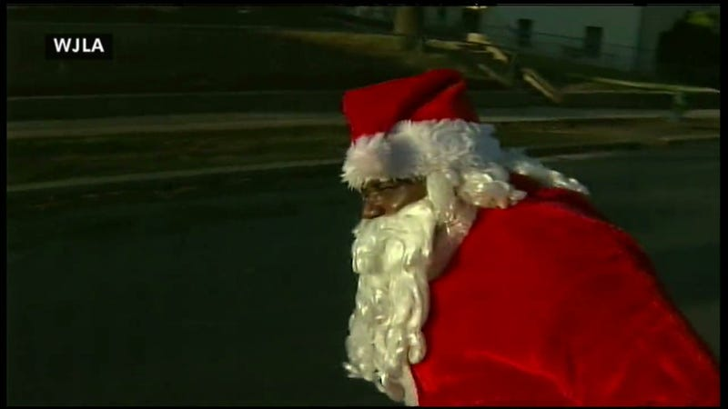 D.C. Santa Claus Shot With Pellet Gun In Front Of TV Crew