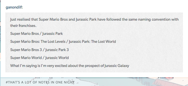 Fan Theory Uses Super Mario To Predict Jurassic Galaxy