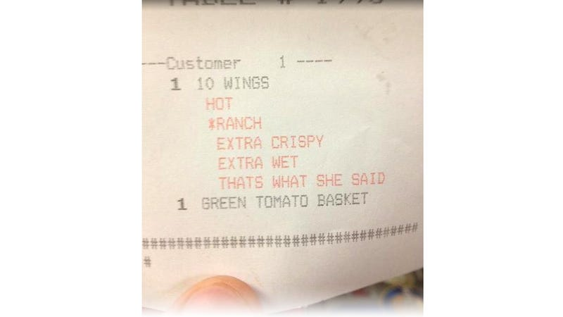 """That's What She Said"" Receipt Is Funnier Than Any Stupid April Fools"