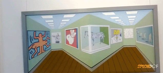 Optical illusion painting changes its perspective as you move around it