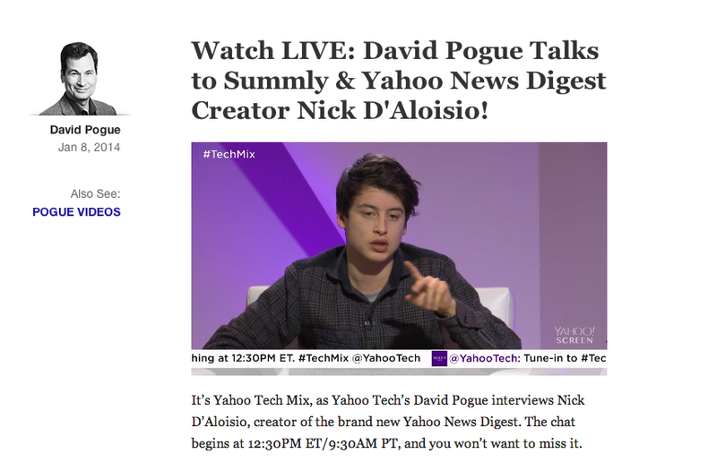 David Pogue Interviewing Nick D'Aloisio Was Beautiful Blowjob to Yahoo