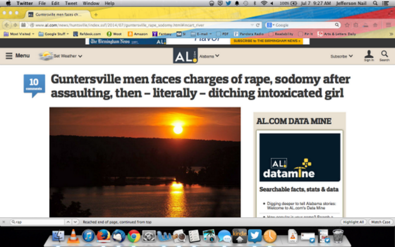 Alabama Newspaper Makes Horrible Joke in Headline About Rape