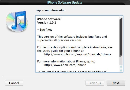 iPhone Update 1.0.1 Now Available, Fixes Safari Security Breach, Other Bugs