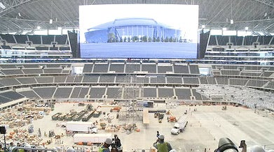 Punt Hits World's Largest HD Video Screen in Cowboys Stadium