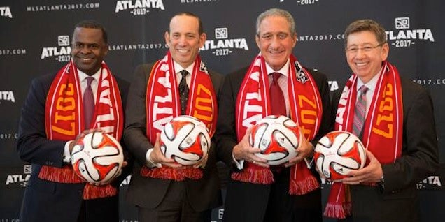Image of Arthur Blank and Don Garber at Atlanta MLS franchise announcement