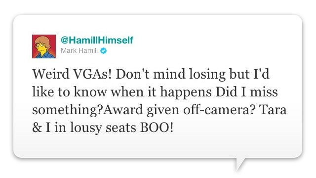 Mark Hamill, Tara Strong (aka The Joker and Harley Quinn) Both Miffed about the VGAs