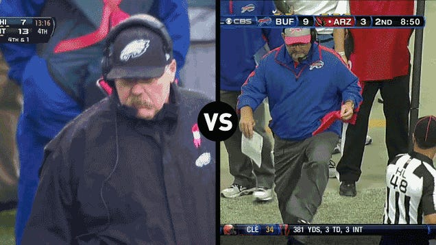 Who Has The Funnier Challenge-Flag-Throwing Motion, Andy Reid Or Chan Gailey?