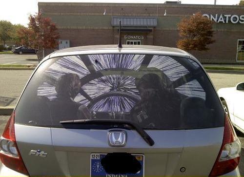 Millennium Falcon rear window sticker upgrades any car in less than 12 parsecs