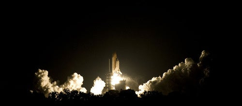 The Space Shuttle Blasts Into The Night