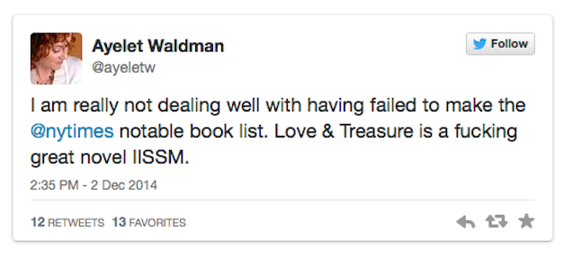 Ayelet Waldman Has No Idea How Non-Notable It Is to Write a Novel
