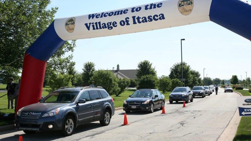 Record-Breaking Parade Of Subarus Passes Through Illinois Town
