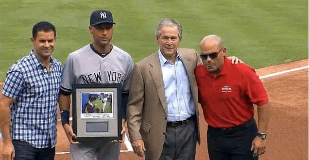 The Rangers Brought Out George W. Bush During Jeter Farewell Ceremony