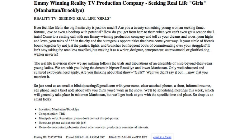 Reality TV Producers Desperately Seeking Real Life Girls Just Like the Ones in Girls