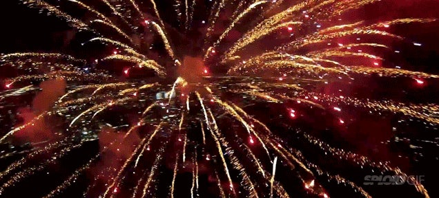 Drone captures beautiful film flying through fireworks
