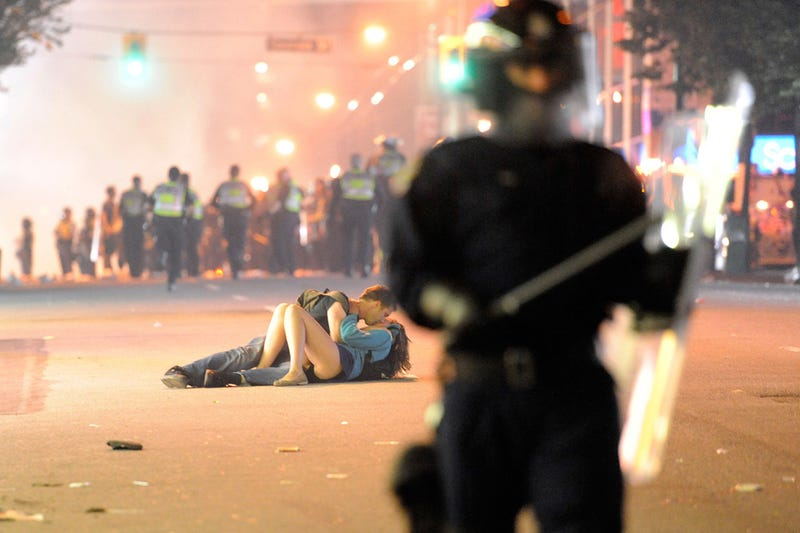 Mid-Riot Make Out Session Probably Not Staged