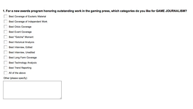 Survey for Games Journalism Awards is Itself Award-Worthy