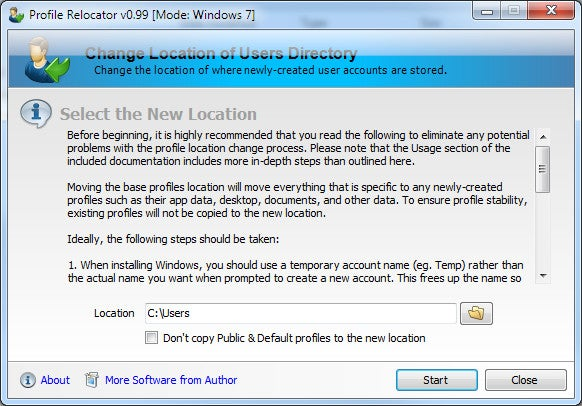 Profile Relocator Moves Windows Profiles to a New Location