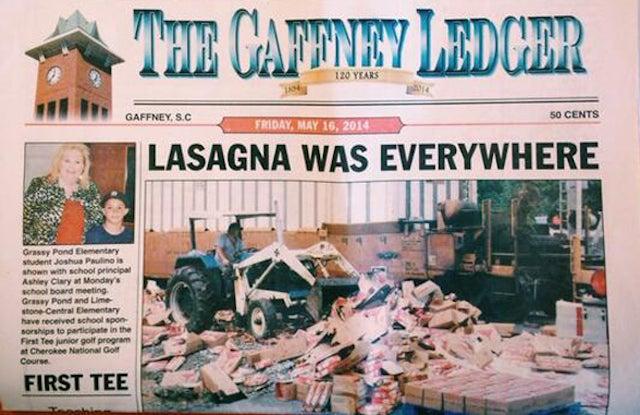 Lasagna Disaster Inspires Incredible Headline