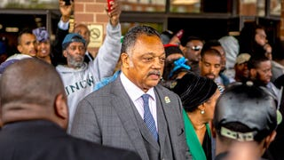 Jessie Jackson doing the pop-in at Freddie Gray's funeral. [Photo: AYMANN]