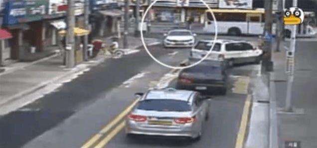 Korean Street Explodes, Flips Car Like a Toy