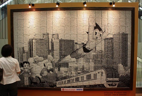 Astro Boy Mural Created From 138,000 Recycled Tokyo Metro Tickets