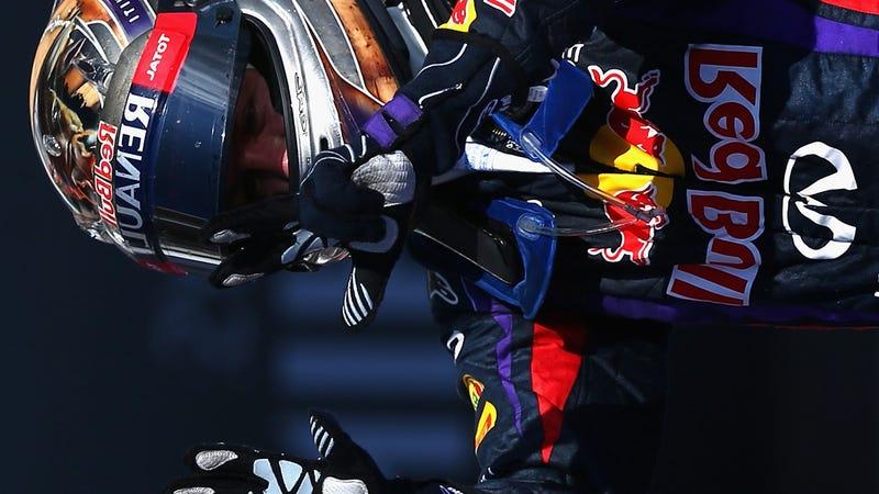 Robo-Driver Sebastian Vettel Miraculously Produces Human Spawn
