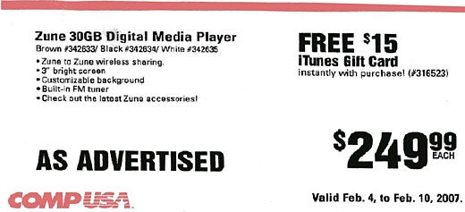 Weird Combo of the Day: iTunes Card Free With Zune