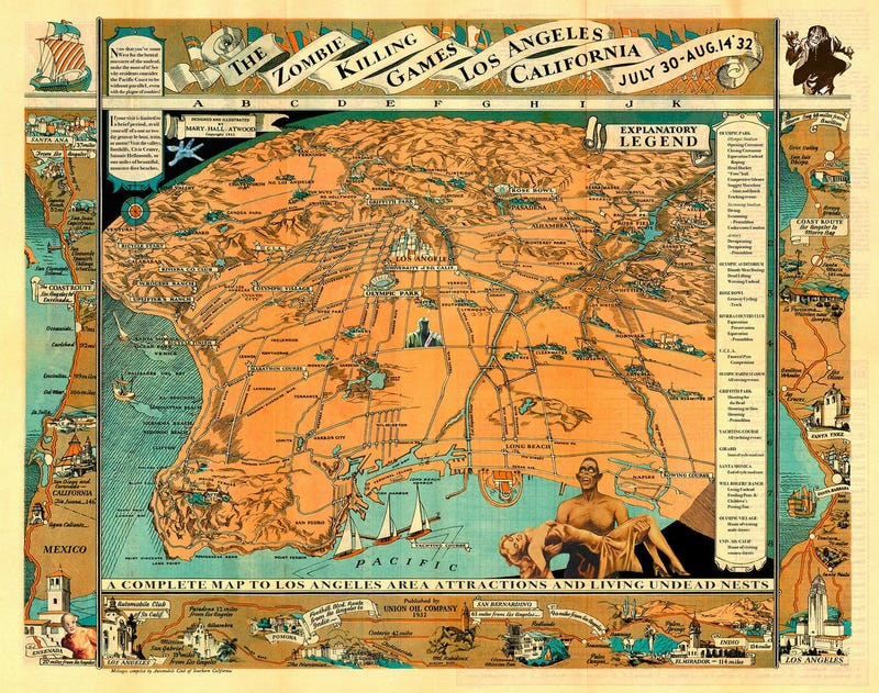 Postcards and maps from America's olden days, filled with monsters and alien dictators