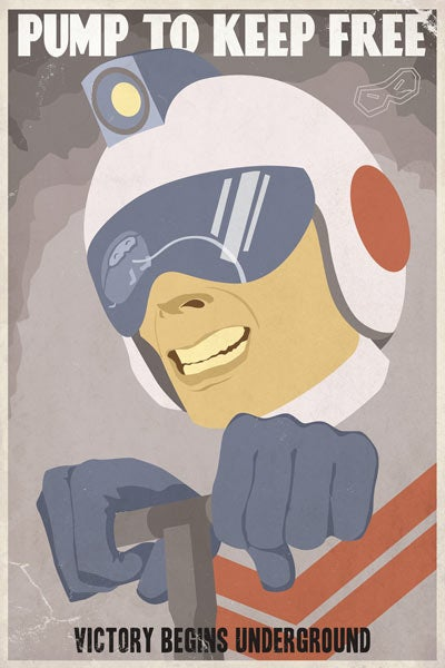Retro videogame propaganda posters invite you to do your part