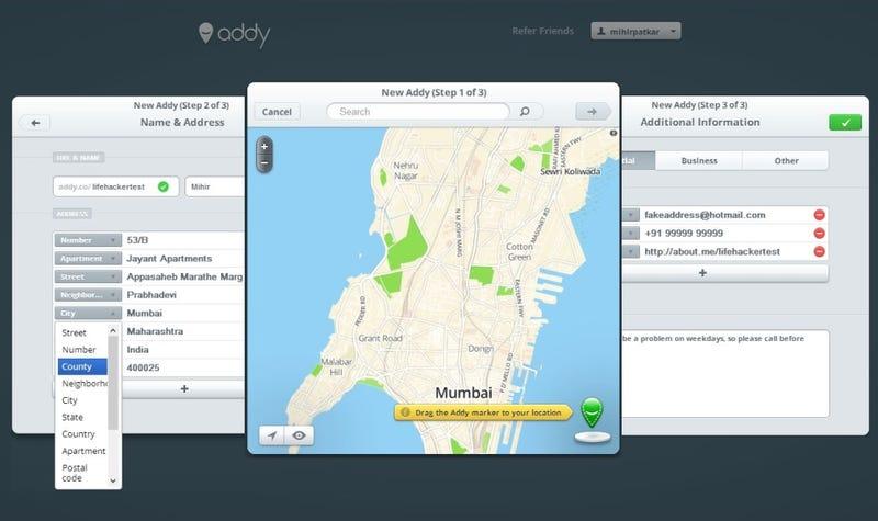Addy Creates a Custom URL for Instant Address Sharing