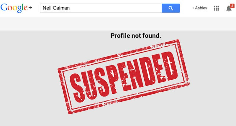 Google+ Thinks the Account It Personally Set Up for Neil Gaiman Is Fake