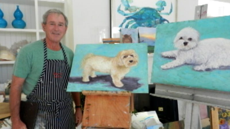 George W. Bush Learned To Paint The Way a Three-Year-Old Does