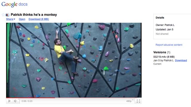 Google Docs Now Allows Streaming of Uploaded Videos