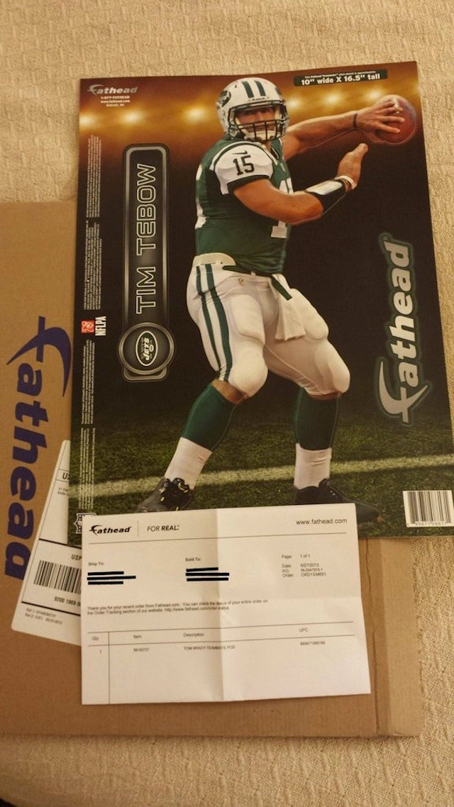 Some Poor Soul Ordered A Tom Brady Fathead, Got Tim Tebow's Instead
