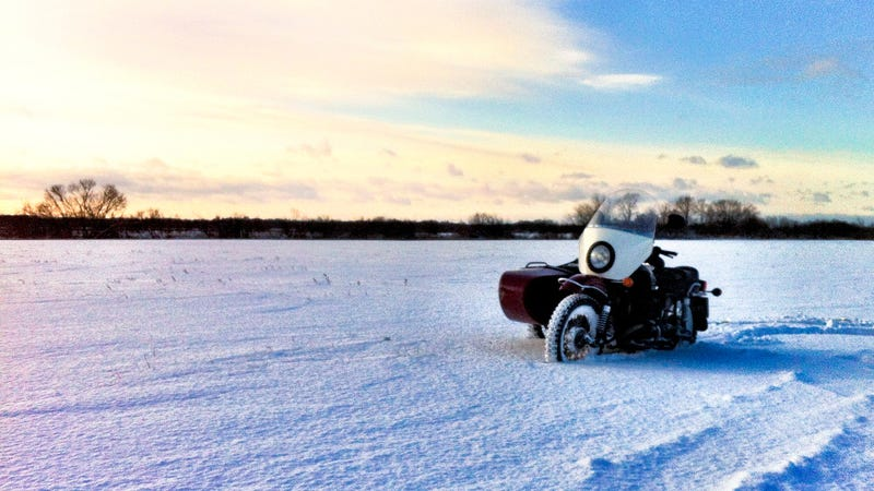 Riding sidecars in the frozen Siberian winter