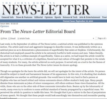 "Johns Hopkins News-Letter Issues ""Sincere Apology"" For ""Satirical"" Article"