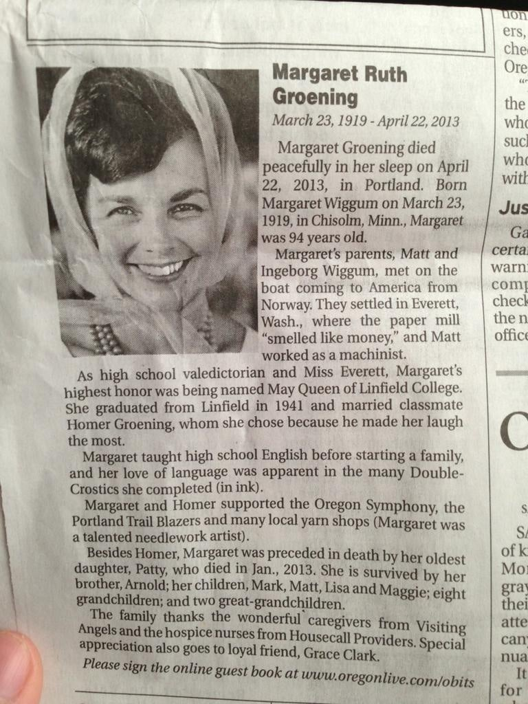 Matt Groening's Mother's Obit Reads Like a Who's Who of Springfield