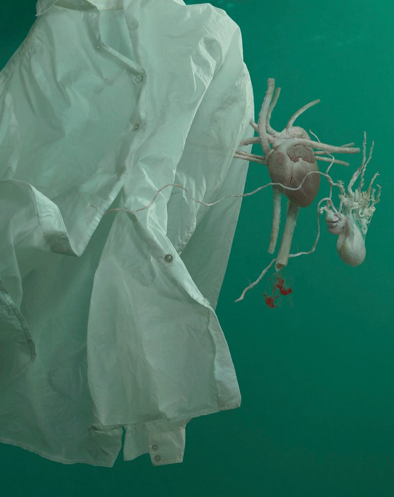 Human organs floating out of dress shirts, underwater