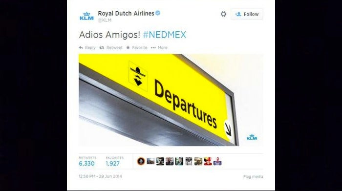 KLM Posts Offensive Tweet After Mexico's World Cup Loss