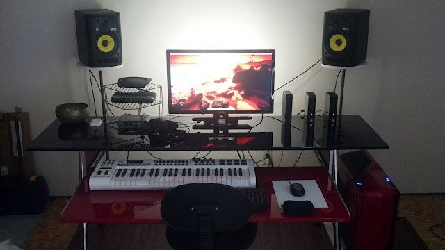 The Slick Red and Black Home Studio Workspace