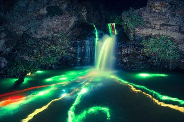 Putting Glowsticks Inside Waterfalls Is Mesmerizingly Beautiful