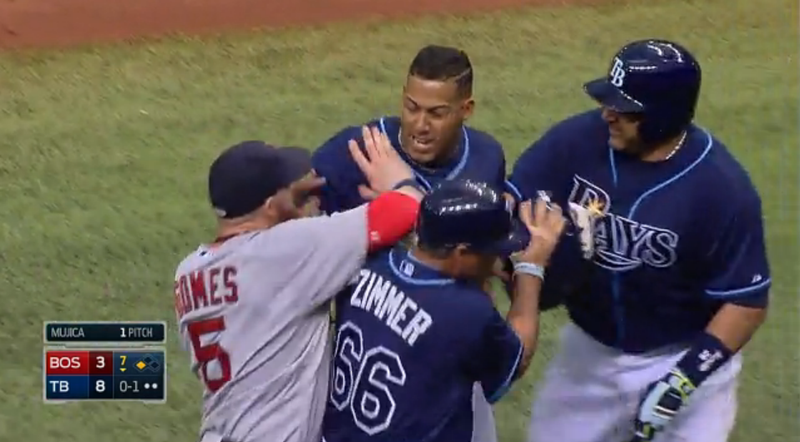 Benches Clear In Red Sox-Rays When Yunel Escobar Steals Third