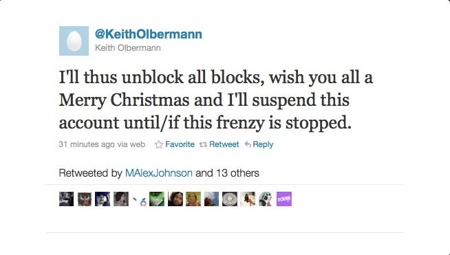 Merry Christmas, Keith Olbermann Has Quit Twitter