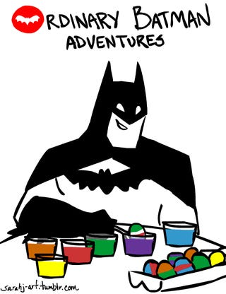 On his days off, animated Batman dyes Easter eggs and enjoys a bubble bath