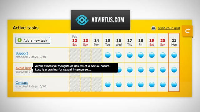 AdVirtus Is a Grid-Based To-Do Manager That Helps You Break Bad Habits