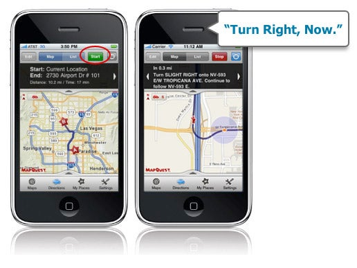 MapQuest's Free iPhone App Now Does Turn-By-Turn Voice Directions