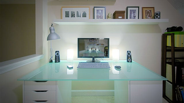 Glowing Glass and Peering Into Infinity: A Bright, Clean Workspace