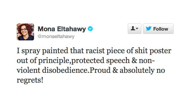 Mona Eltahawy Has No Regrets About Spray Painting Over That 'Racist Piece of Shit' Subway Advertisement