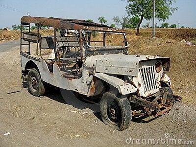 Jeep got broken into last night.